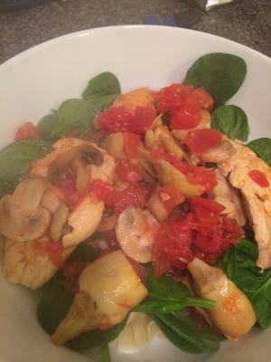 saucy tomato artichoke chicken with spinach