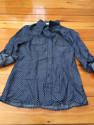 polka dot chambray top