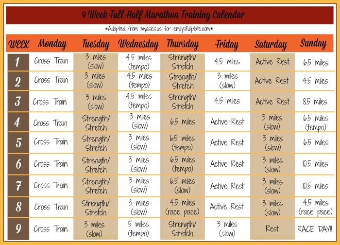 9 week fall half marathon