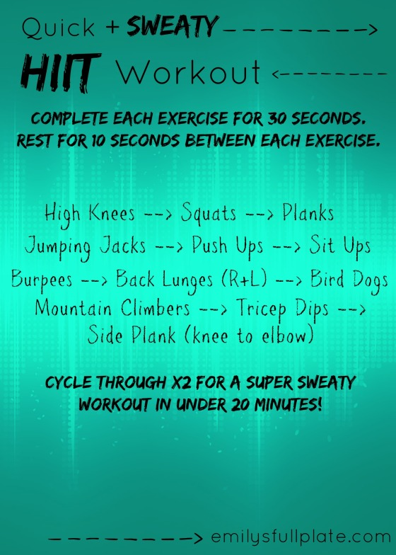 Quick Sweaty HIIT Workout