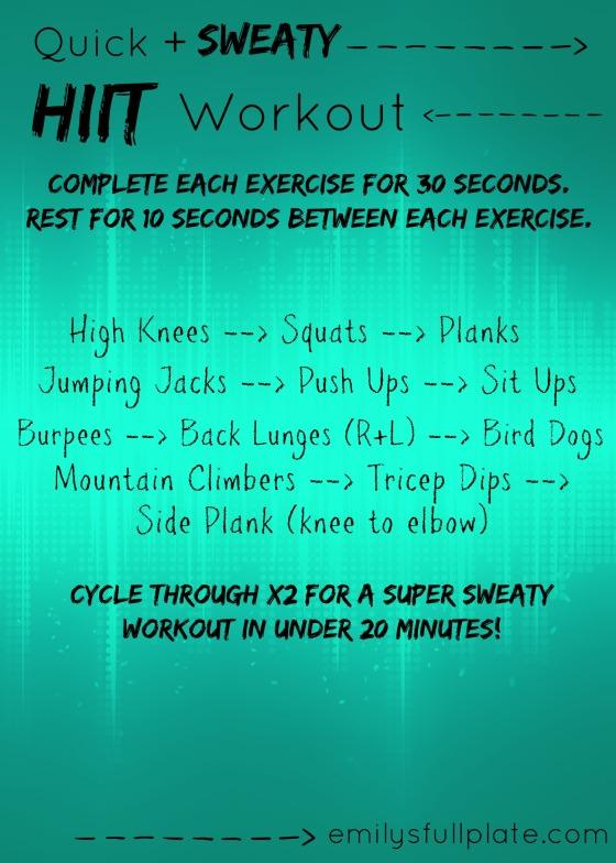 Quick Sweaty HIIT Workout