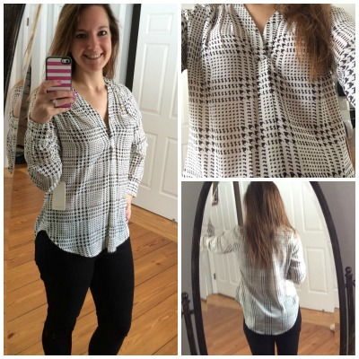 Ackley Houndstooth Print Blouse