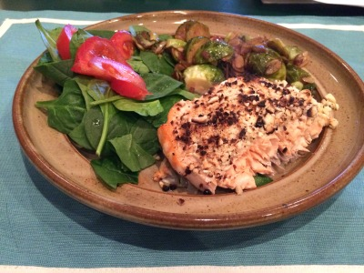 salmon and brussels