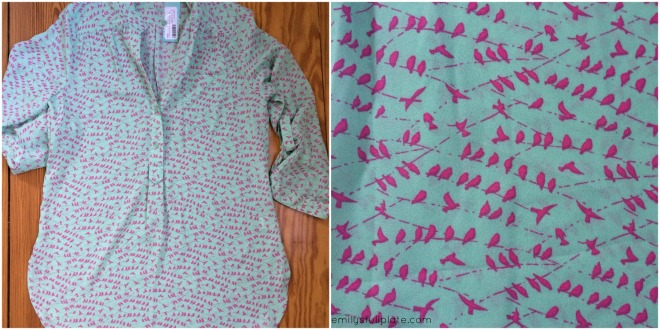 Colibri Bird PrintTab-Sleeve Blouse by Pixley