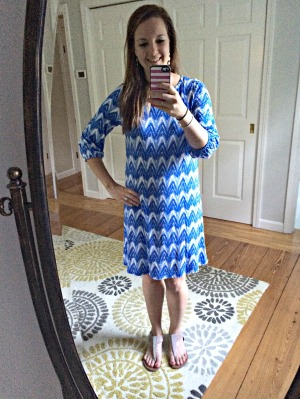 Lyra 3/4 Sleeve Abstract Chevron Dress