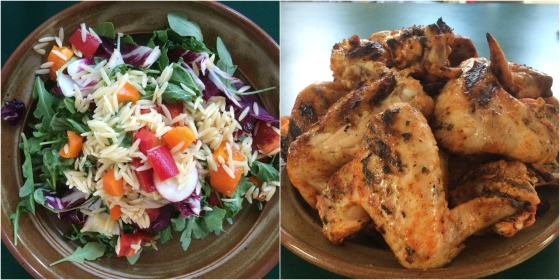 Orzo salad and chicken wings